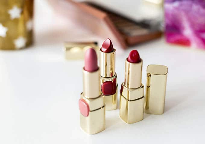 Closeup of lipsticks