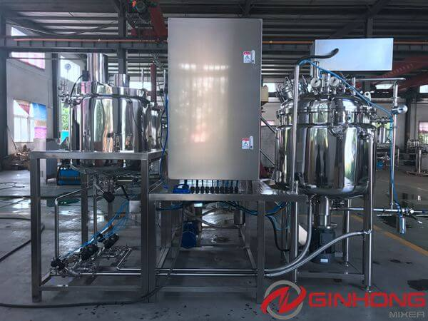 Ginhong Made a RX-400 Vacuum Homogenization Mixer Machine With PLC for a Regular American Customer