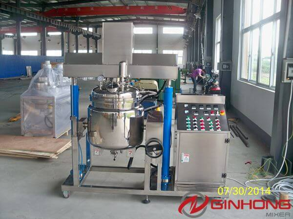 One 100L Simplified Vacuum Emulsifying Mixer and one 3hp Water Chiller Shipped to Australia