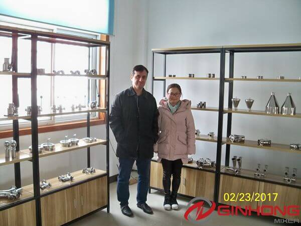 Zambian Customer Cames to Ginhong to Inspect and Test RX-100L Simplified Vacuum Homogenizer Mixer for Making Mayonnaise